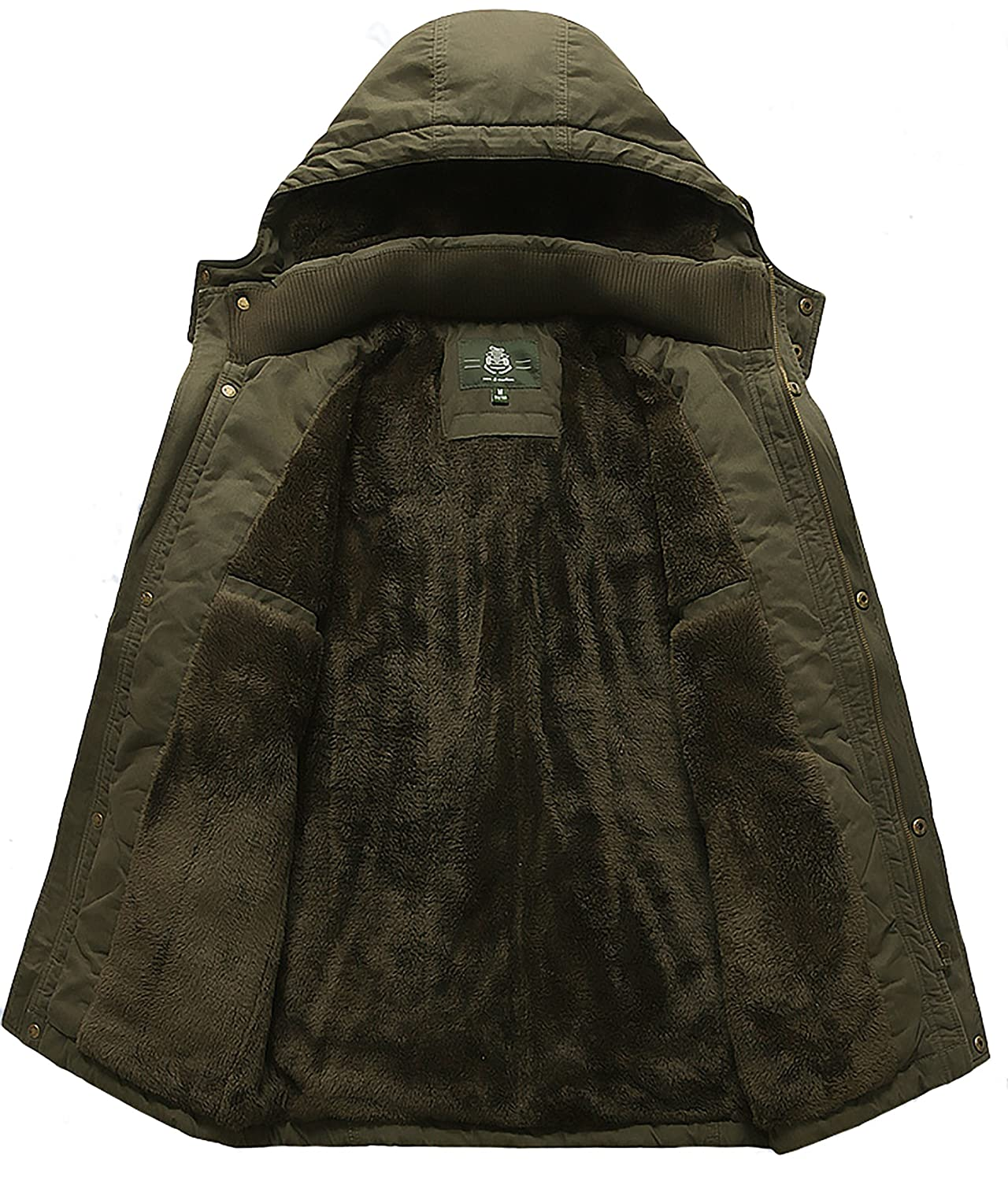 Mens Plus Size Outdoor Winter Coat Military Parka Jacket with ...