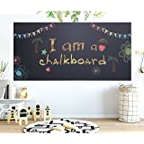"""Chalkboard Contact Paper - 17.7"""" x 78.7"""" Large Chalkboard Sticker Wall Decal with 5 Bonus Colored Chalks. Self Adhesive Blackboard Banner for Classroom, Kitchen, Office. Black Chalk Vinyl Wallpaper"""