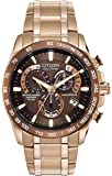 Citizen Men's Eco-Drive Chronograph Quartz Watch with Brown Dial Analogue Display and Rose Gold Stainless Steel Rose Gold Plated Bracelet AT4106-52X