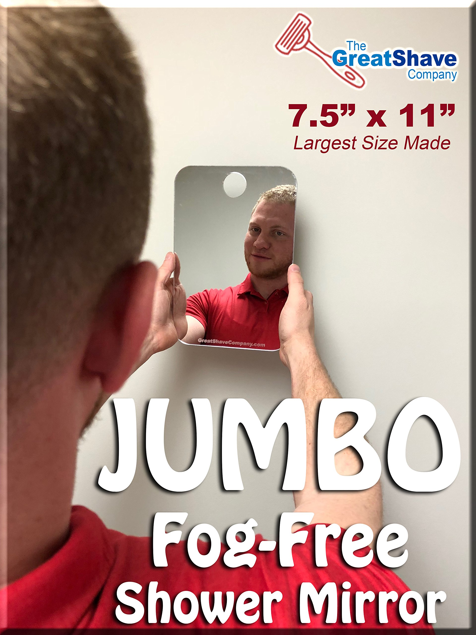 JUMBO Fog Free Shaving Mirror for the Shower. LARGEST MADE!