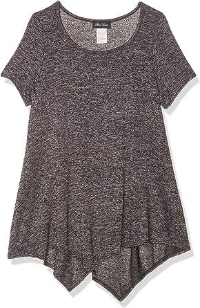Star Vixen Womens Petite Short Ladder//Bar Sleeve Hanky Hem Rayon//Span Knit Top