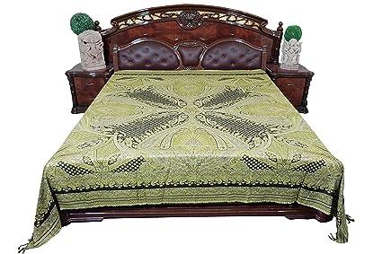 Mogul Pashmina lana cama manta marroquí verde ropa de cama edredón colcha