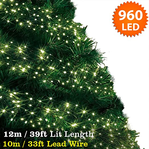 cluster lights 960 warm white outdoor christmas tree lights led fairy lights 12m 39ft - White Outdoor Christmas Tree