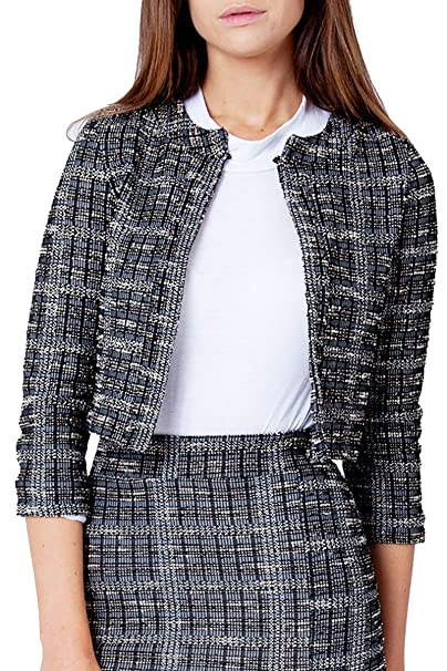 0fa9f9537cf Re Tech UK Ladies Womens Boucle Collarless Blazer Casual Check Jacket -  Cropped Long Sleeve Tweed Checkered Work Office (UK 10   EU 38