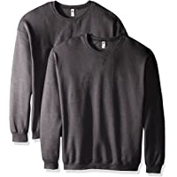 Deals on 2 Pack Fruit of the Loom Mens Crew Sweatshirt