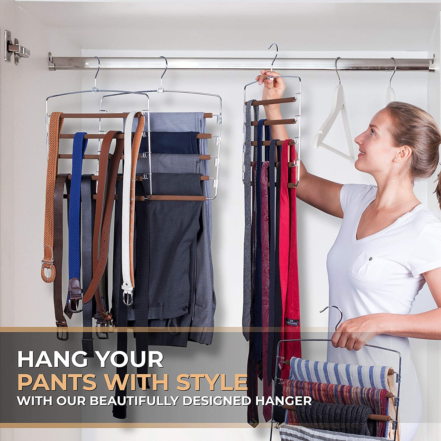 Space-Saving Multi-Functional Hangers for Trousers Dress and Slack Pants Hanger 5-Tier Closet Organizing Trouser Rack with Padded Swing Arm 4 Pack Jeans Organizer Mens and Womens Clothing