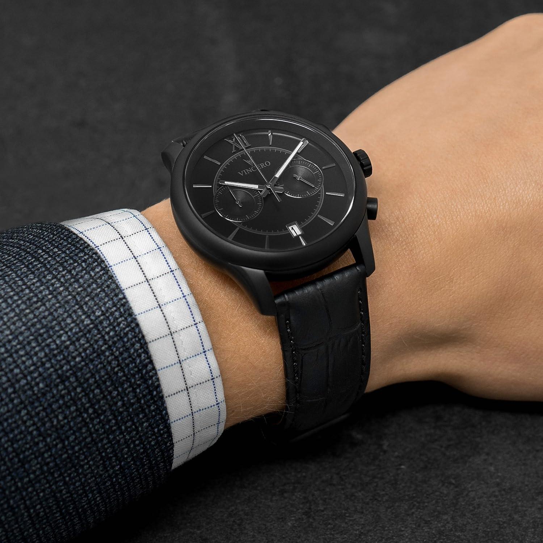 02de21740b10 Amazon.com  Vincero Luxury Men s Bellwether Wrist Watch — Matte Black with Black  Leather Watch Band — 43mm Chronograph Watch — Japanese Quartz Movement  ...