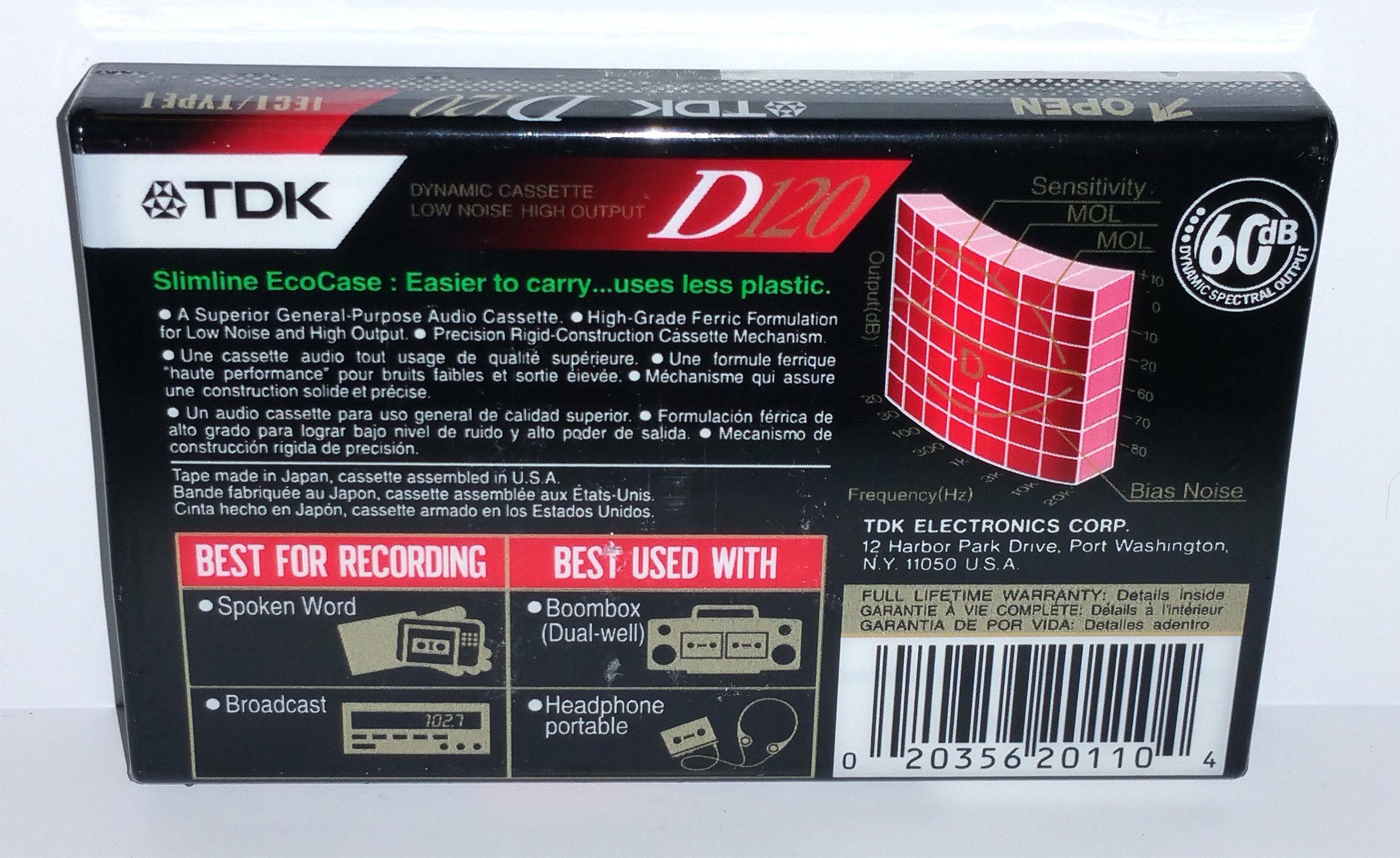 TDK D120 High Output Precision Rigid Construction Mechanism IEC I / Type I Normal Bias Audio Cassette Tapes - 5 Pack