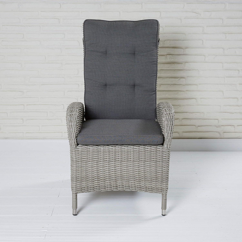LC Garden Bilbao Positionsstuhl Gartenstuhl grau Polyrattan mit Auflage Hochlehner Sessel