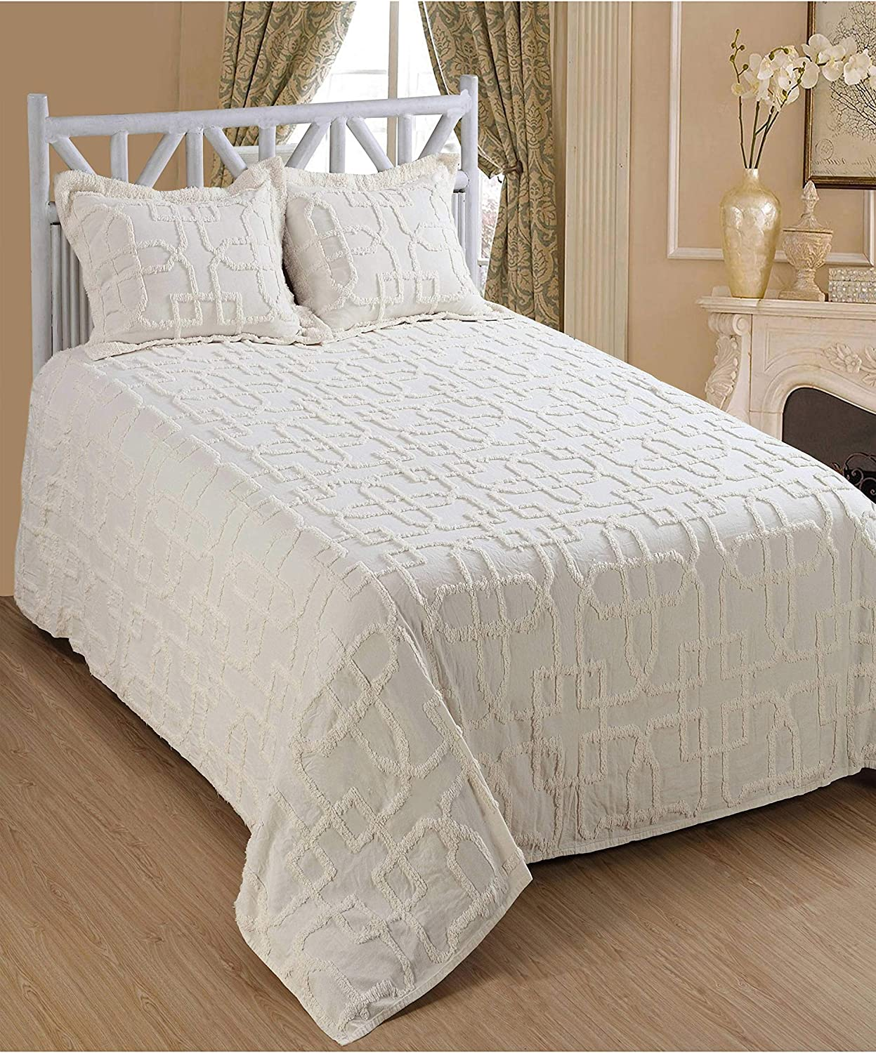 Saral Home Fashions Luxury 3pc Bohemian Bedspread Set 100/% Cotton Chenille Large Medallion Coverlet Fringe Border Fluffy Chic Cozy Quilt Set Matching Standard Sham Abstract Embroider Beige Twin