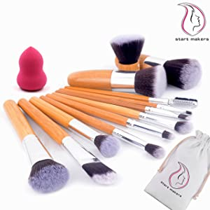 Start Makers 12+1 Piece Professional Makeup Brushes -12pcs Bamboo Handle Make up Brushes +1pcs Makeup Sponge - Natural Soft Kabuki Make up Brush Set - Face Eye Makeup Kits Set with Travel Pouch