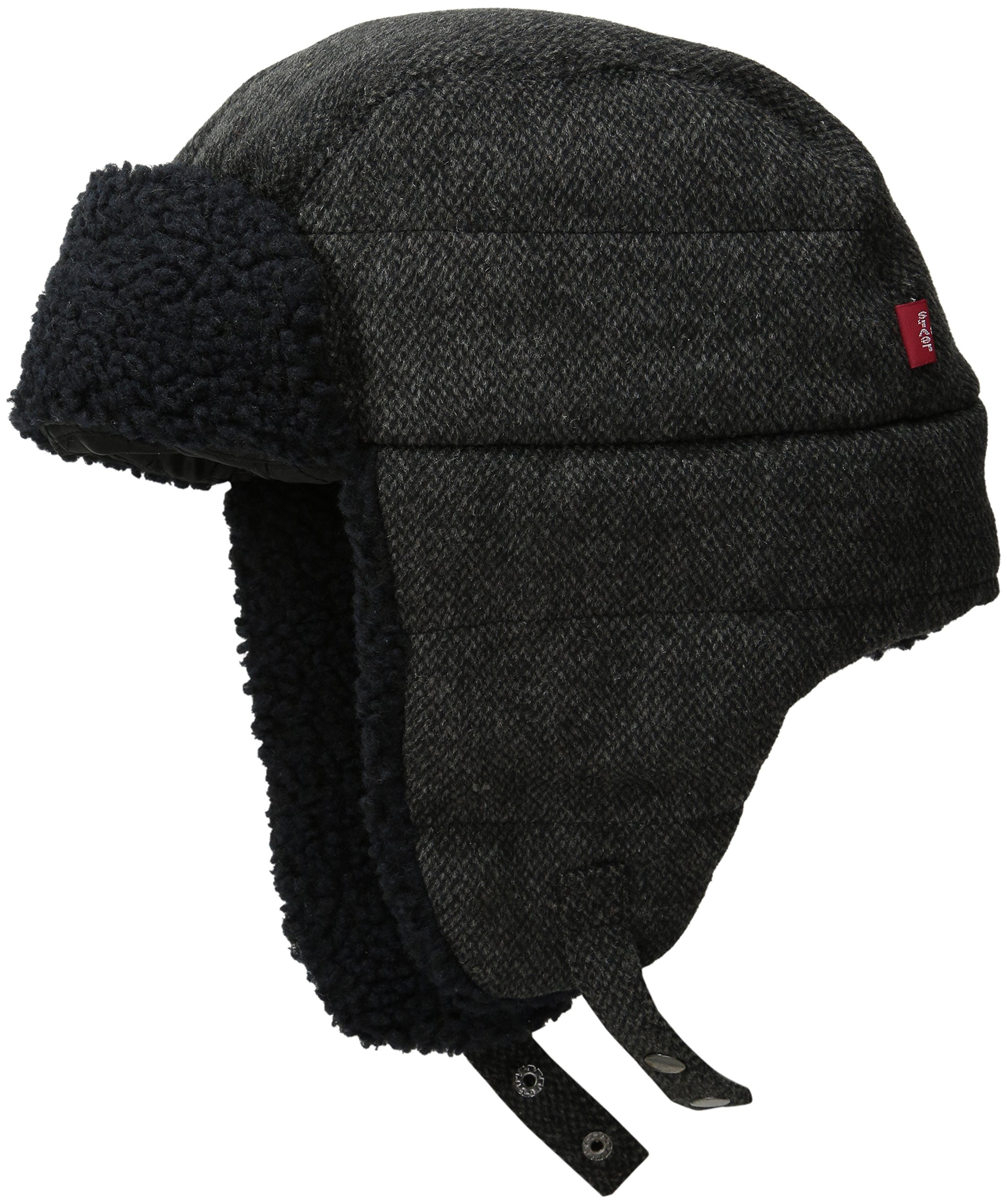 Levi's Men's Micro Box Pattern Two-Toned Sherpa Lined Snap up Trapper Hat,Black,Small/Medium