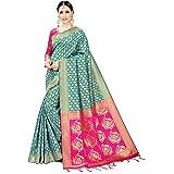 Viva N Diva Sarees for Women's Banarasi Art Silk Silk Zari Woven Saree with Un-Stiched Blouse Piece,Free Size