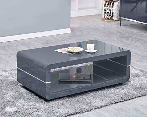 Best Quality Furniture Glass Top Coffee Table, Dark Gray