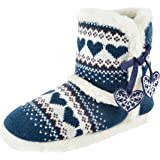 Ladies Hearts Knitted Fur Lined Slipper Boots