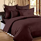 Ahmedabad Cotton 3 Piece 300TC Striped Double Duvet Cover Set - 90 x 100 inches, Chocolate Brown