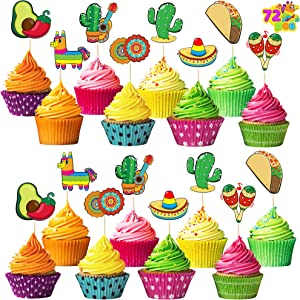 72 pcs Cinco De Mayo Cupcake Toppers for Fiesta, Taco Night, Birthday, and Mexican Themed Party