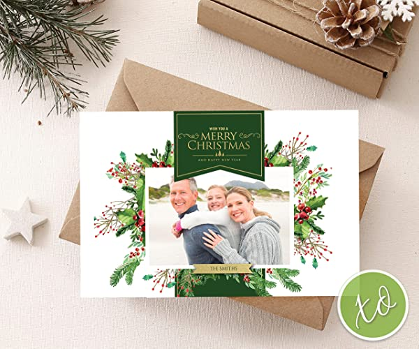 Custom Christmas Cards.Family Photo Christmas Postcard Personalized Christmas