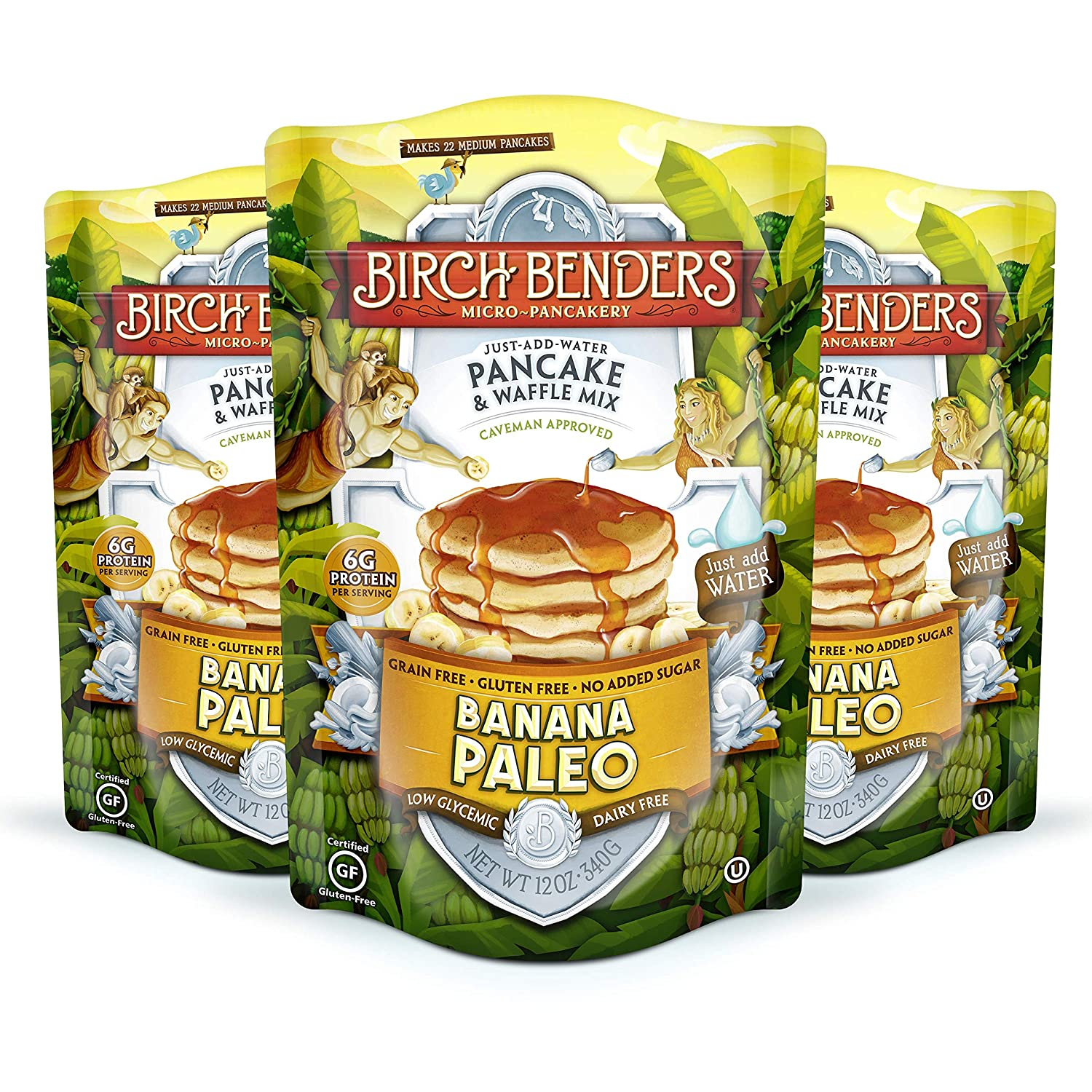 Banana Paleo Pancake & Waffle Mix By Birch Benders, Gluten Free, 6g Protein, Grain Free, No Added Sugar, Non-GMO, All Natural, Just Add Water, 12 Oz Each, Pack of 3