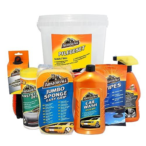 Armor All  Autopflegeset Eimer inkl. Car Wash Speed Dry 1 L (Kunststoffpflegetücher 30 Stk., Scheibenreinigungstücher 20 Stk., Extrem Felgen- und Reifenreiniger 500 ml, großer Schwamm, Luxus-Alufelgenbürste + kostenloser Eimer)