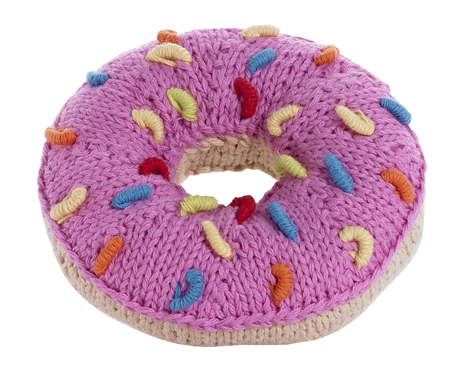 abaada22953 Amazon.com  Pebble hand knitted donut rattle - pink icing with white  sprinkles  Toys   Games