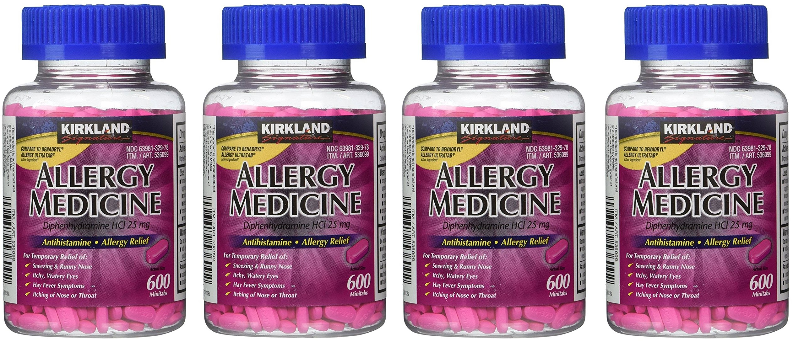 Diphenhydramine HCI 25 Mg - Kirkland Brand - Allergy Medicine and AntihistamineCompare to Active Ingredient of Benadryl Allergy Generic, 600 Count (4 Pack)