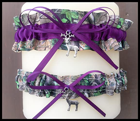 4381ba7a094 Image Unavailable. Image not available for. Color  Sexy Camouflage Dark  Purple Satin Wedding Bridal Garter Camo SET ...