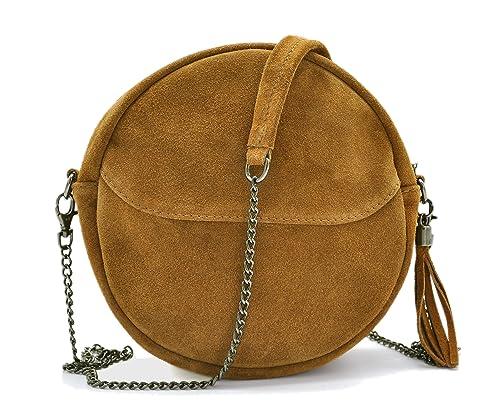 1c5439a4a4 Jade&Lo - Petit Sac Rond Tendance - Femme - Croûte de cuir Veau Velours  (type daim, nubuck) avec bandoulière chaîne - Camel clair - 24 cm (D) x 5  cm (E) ...