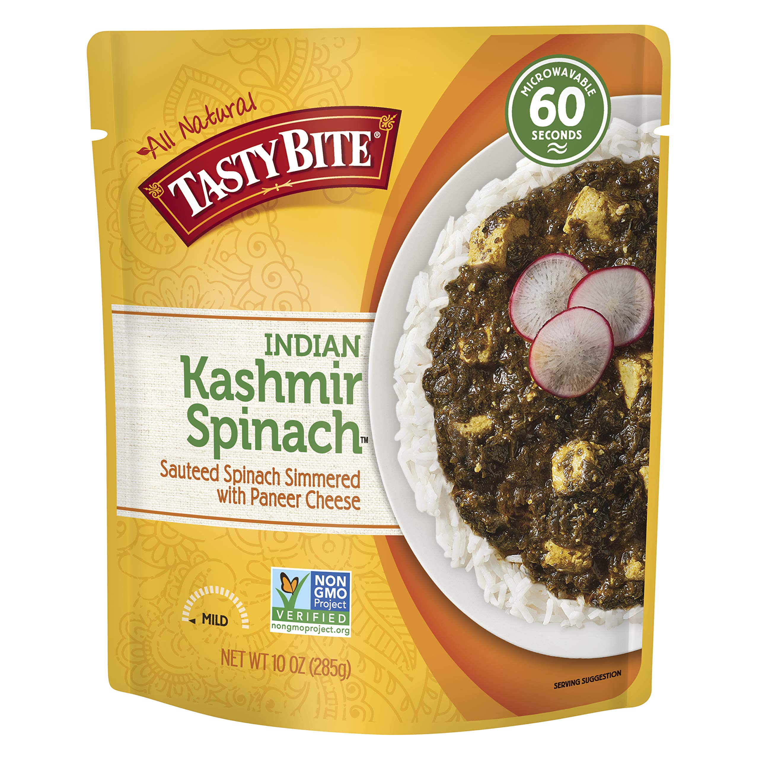 Tasty Bite Indian Entree Kashmir Spinach 10 Ounce (Pack of 6), Fully Cooked Indian Entrée with Sautéed Spinach with Paneer Cheese, Vegetarian, Gluten Free, Microwaveable, Ready to Eat by Tasty Bite