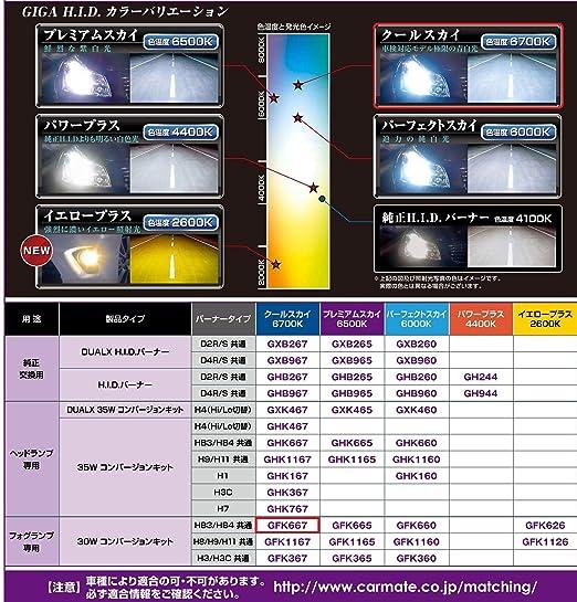 HB3/ GIGA GFK667 HB4 6700Kクールスカイ フォグランプ用HIDコンバージョンキット カーメイト