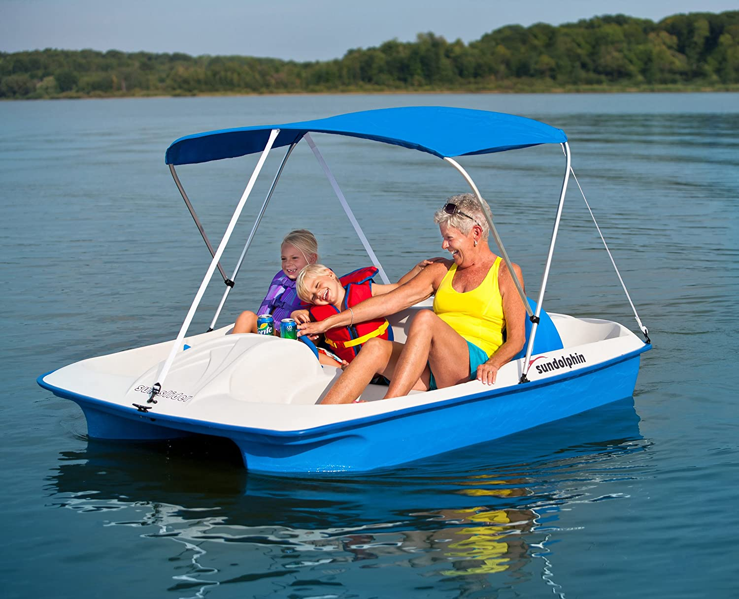 Amazon.com  Sun Dolphin Sun Slider 5 Seat Pedal Boat with Canopy (Blue)  Paddle Boat  Sports u0026 Outdoors & Amazon.com : Sun Dolphin Sun Slider 5 Seat Pedal Boat with Canopy ...