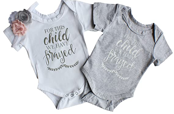 1df830831 Perfect Pairz Boy Girl Twin Onesie - for This Child We Have Prayed (6M)