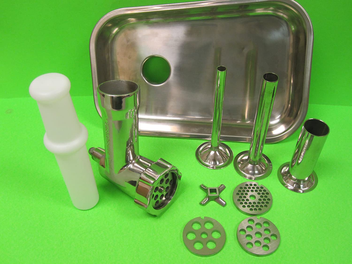 The Original Stainless Steel meat grinder attachment for Kitchenaid. Shipped from Smokehouse Chef