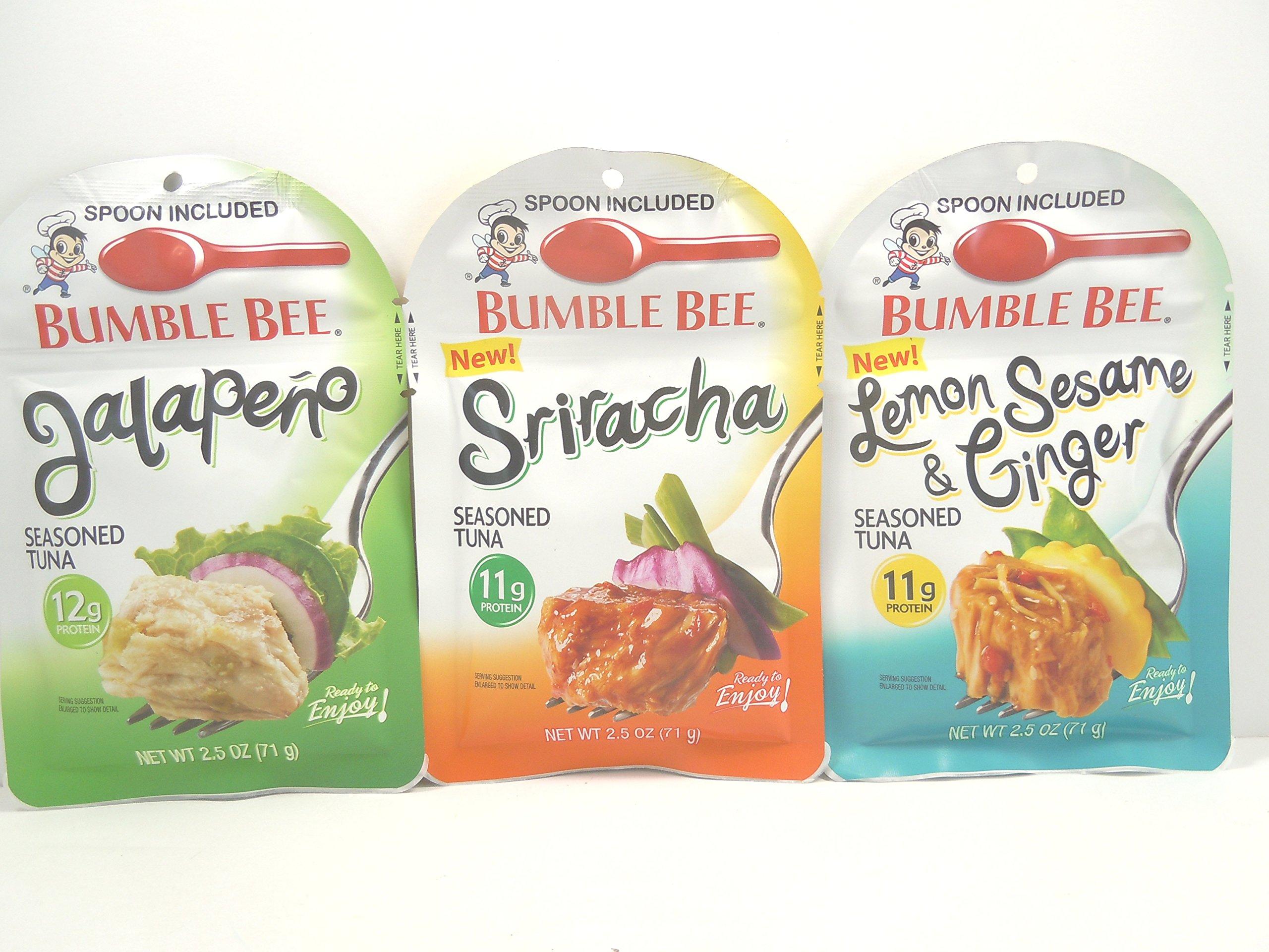 Bumble Bee NEW Seasoned Tuna : Jalapeno,Sriracha, and Lemon Sesame & Ginger, 2.5 oz.ea. Bundle of 3 Pouches