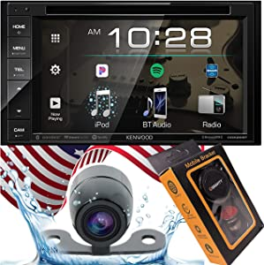 """Kenwood DDX26BT Double DIN SiriusXM Ready Bluetooth in-Dash DVD/CD/AM/FM Car Stereo Receiver w/ 6.2"""" Touchscreen + HD Backup Camera Included + Gravity Magnet Phone Holder"""
