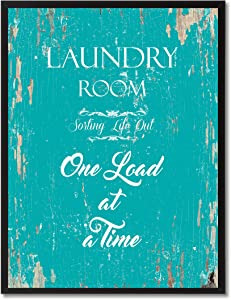 """SpotColorArt Laundry Room Sorting Life Out One Load at A Time Framed Canvas Art, 7"""" x 9"""", Aqua"""