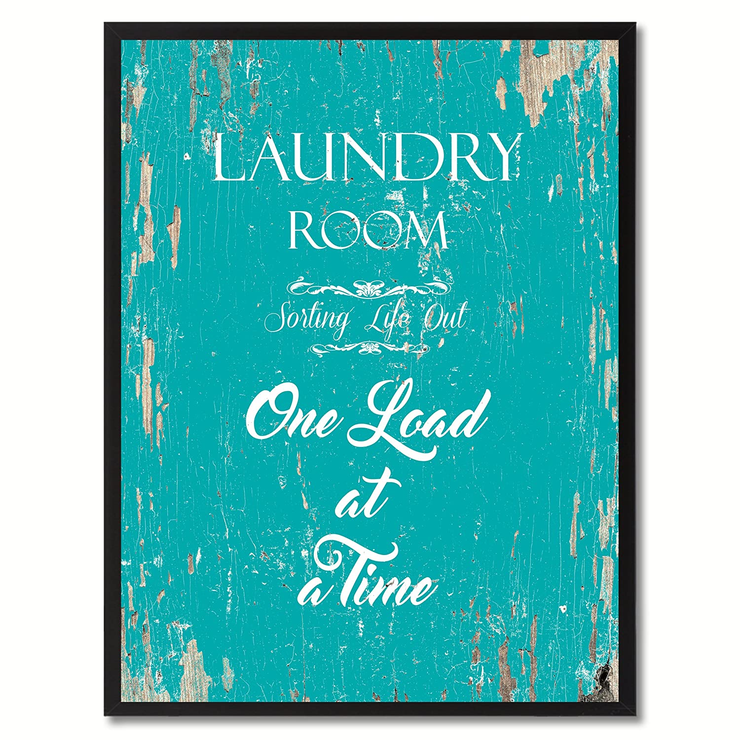 Spot Color Art Laundry Room Sorting Life Out One Load at a Time Framed Canvas Art, 7 x 9, Aqua 7 x 9 QUOTEBEACH085-111253AQ79B