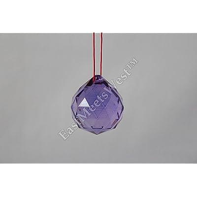 """Beijing FENG Shui Hanging Crystal Ball 1.5"""" 40mm Sphere Prism Faceted Sun Catcher Purple : Garden & Outdoor"""