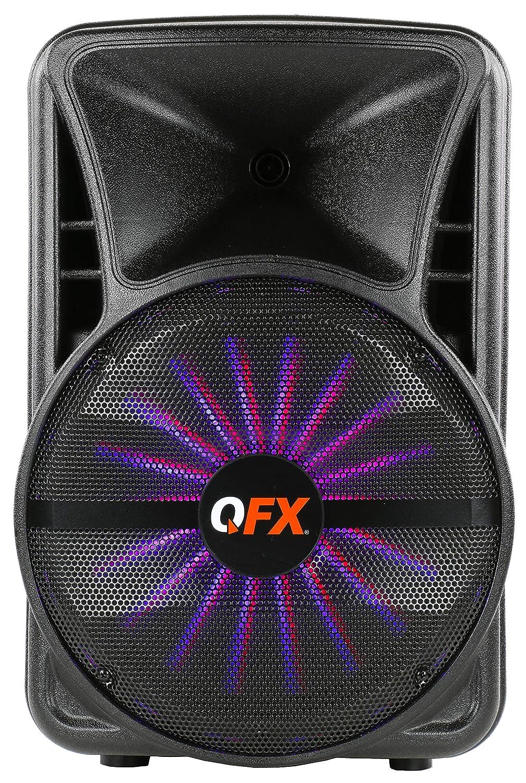QFX PBX-15SM 15インチ 充電式スマートアプリ制御パーティースピーカー スタンドとマイク付き   B07MY47BBY