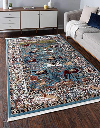 Unique Loom Narenj Collection Classic Traditional Hunting Scene Textured Blue Area Rug 10 0 x 13 0