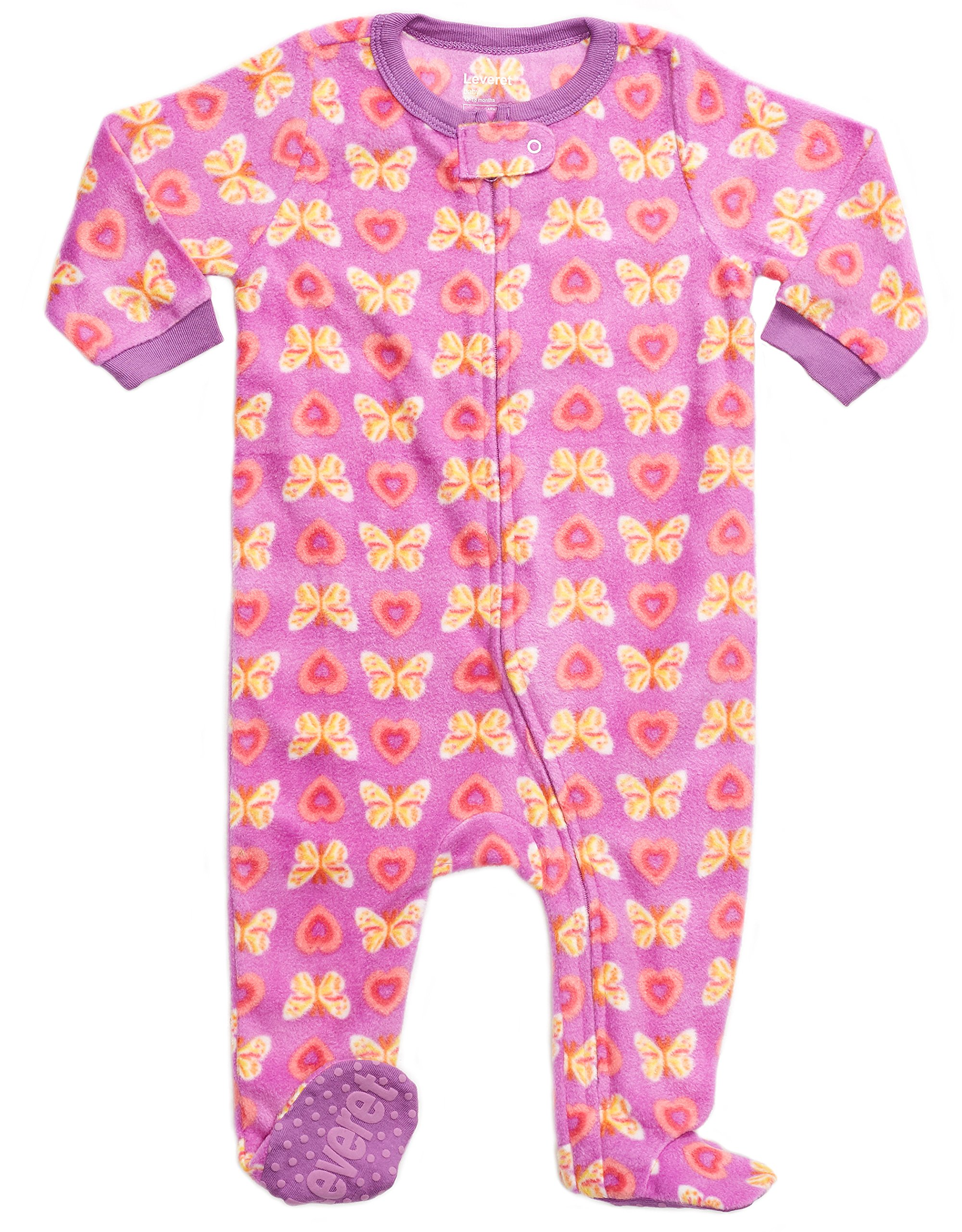 8ea9b66110 Leveret Fleece Baby Girls Footed Pajamas Sleeper Kids   Toddler Pajamas (3  Months-5 Toddler)