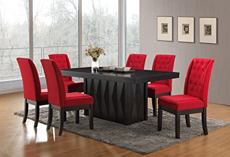 Kings Brand Furniture 7 Piece Rectangular Dinette Dining Room Set, Table U0026  6 Chairs