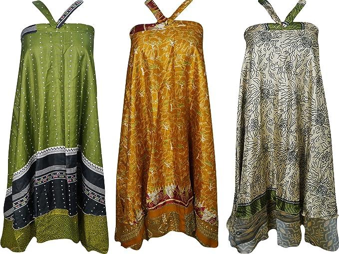 8bc9a0180c65e Boho Chic Womens Beach Wrap Vintage Silk Sari Magic Wrap Skirt ...
