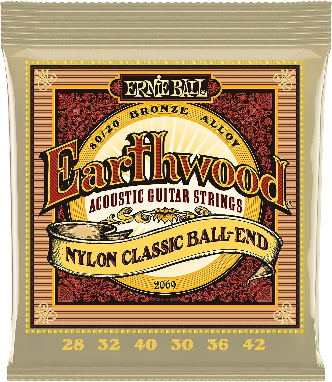 Ernie Ball Earthwood Folk Nylon, claro y dorado, cuerdas de guitarra acústica de bronce 80/20 - calibre 28-42