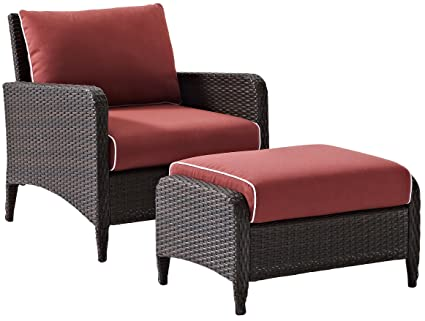 Crosley Furniture Kiawah 2 Piece Outdoor Wicker Seating Set With Sangria  Cushions   Brown