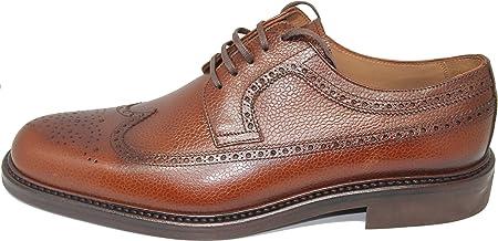 George´s Shoes 1608.Zapato de Cordones Pala Vega,Totalmente Hecho a Mano en Inca Mallorca,Piel de Becerro Grabado de Primera Calidad,Color Cuero