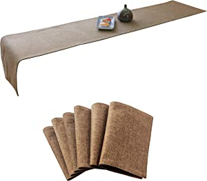 Home Brilliant Linen Placemats Set of 6 and Table Runner