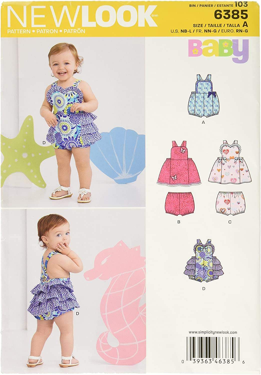 New Look Sewing Pattern 6293: Babies Romper Dress NN G Panties and Headband Size A