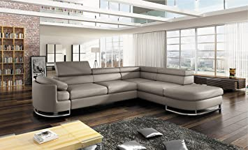 Pleasant Bmf Ice Light Grey Modern Corner Sofa Chrome Legs Bed Storage Faux Leather Fabric Right Facing 278Cm X 224Cm Home Interior And Landscaping Spoatsignezvosmurscom