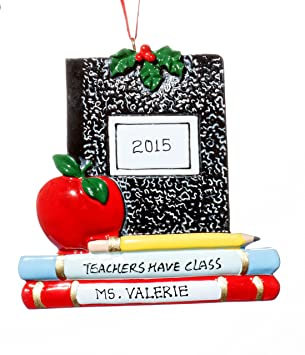 school teacher christmas holiday teachers have class ornaments free name personalized shipped in one